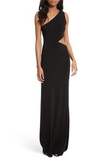 Alice + Olivia Malia Cutout One-Shoulder Maxi Dress