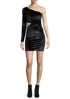 Alice + Olivia Malia One-Shoulder Crushed Velvet Cocktail Dress