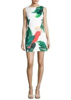 Alice + Olivia Malin Botanical Printed Boat-Neck Dress