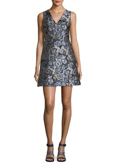 Alice + Olivia Malin V-Neck Paisley Jacquard Sleeveless Cocktail Dress