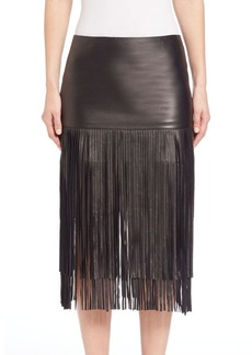 Alice + Olivia Malinda Leather Fringe Skirt