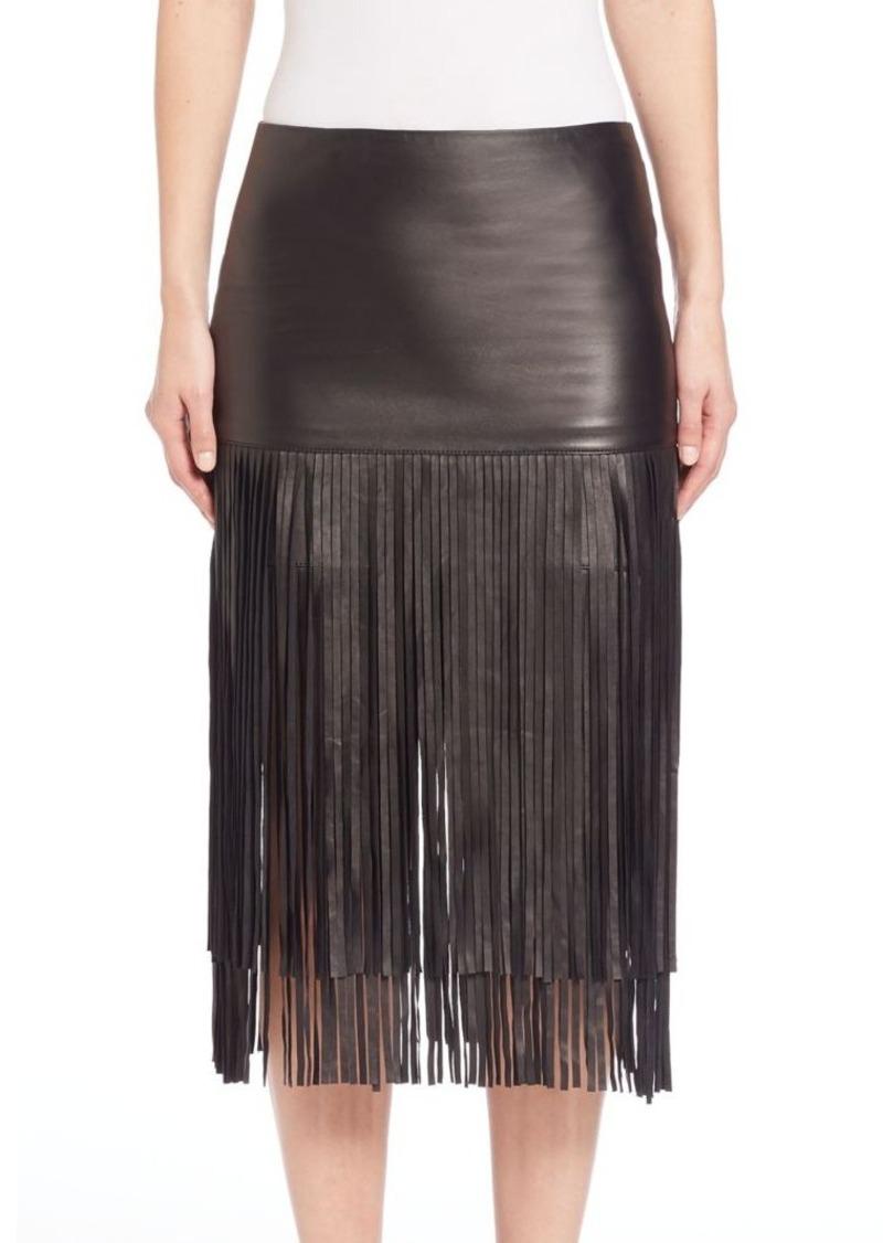 Alice + Olivia Malinda Leather Fringe Skirt