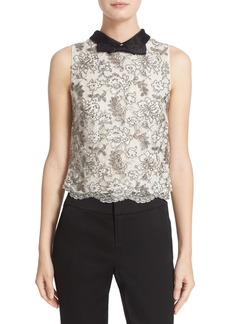 Alice + Olivia Manie Bow Collar Embellished Crop Top