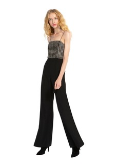 alice + olivia MANNIE SEQUIN WIDE LEG JUMPSUIT