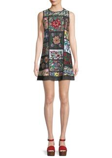 Alice + Olivia Marcelina Sleeveless Embroidered Tunic Dress
