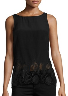 Alice + Olivia Marge Lace Hem Cowl-Back Tank Top