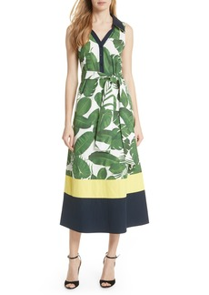 Alice + Olivia Margot Leaf Print Midi Dress