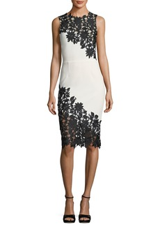 Alice + Olivia Margy Sleeveless Fitted Dress with Lace Guipure