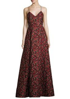 Alice + Olivia Marilla V-Neck Strappy Floral Jacquard Gown