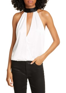 Alice + Olivia Maris Back Bow Halter Top