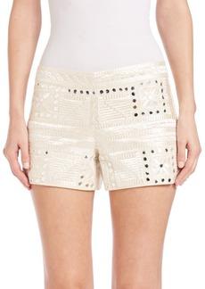 Alice + Olivia Marisa Embroidered Back-Zip Shorts