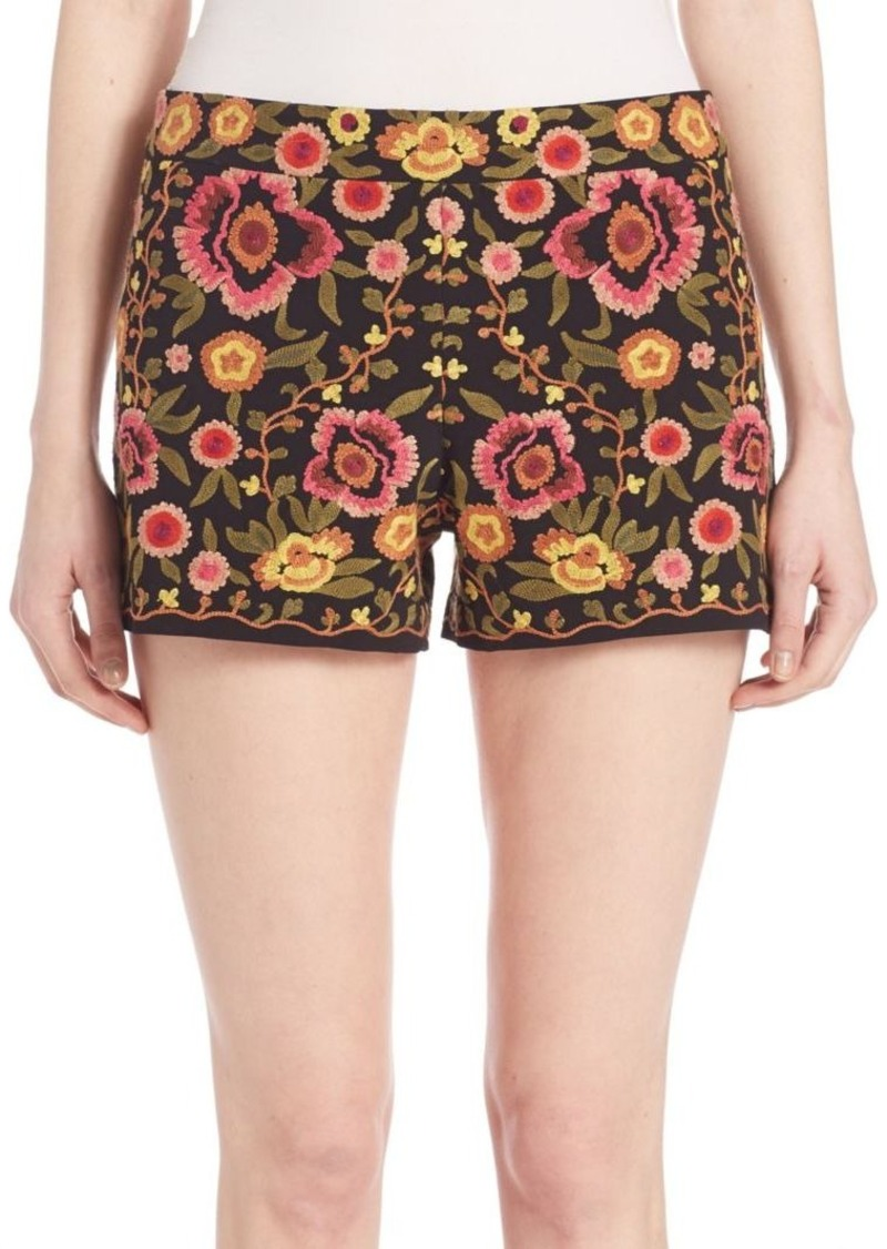 99ad63a6dc9e Alice + Olivia Alice + Olivia Marisa Embroidered Back Zipper Shorts