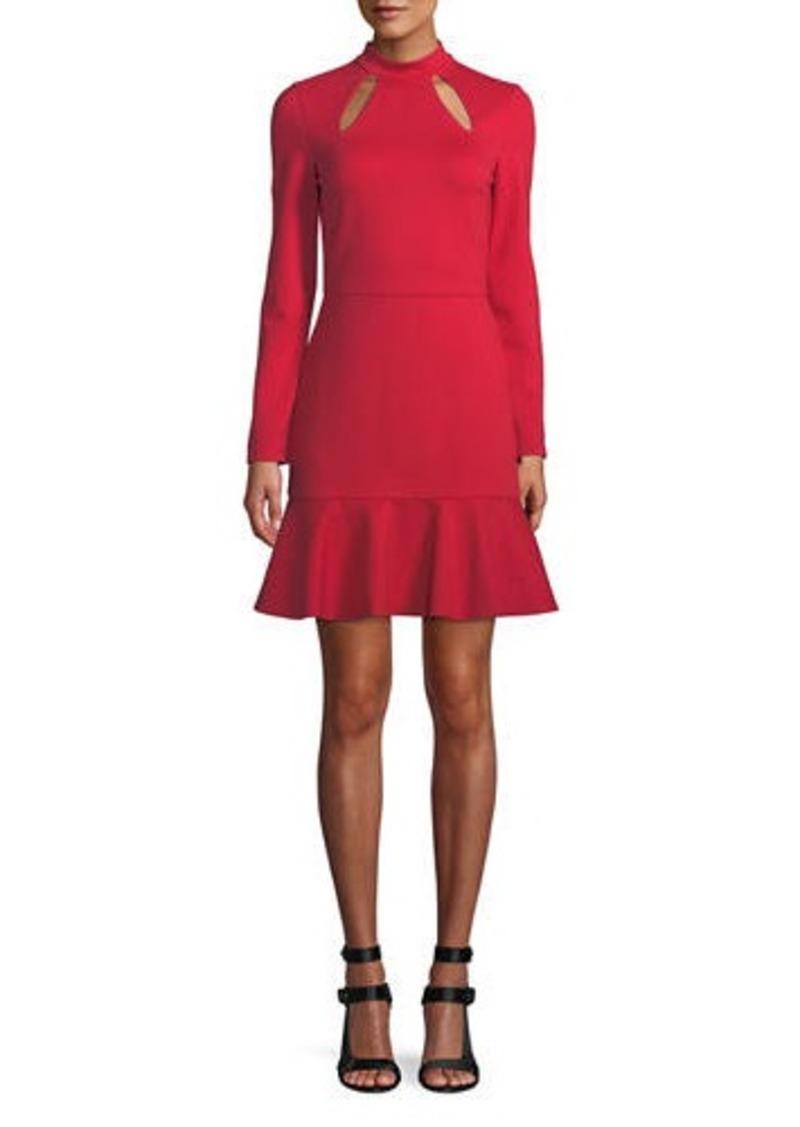Alice + Olivia Marisela Mock-Neck Cutout Mini Dress