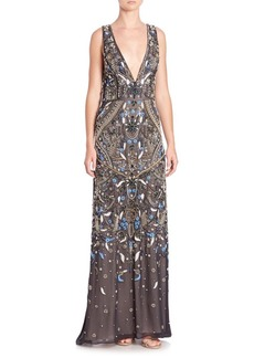 Alice + Olivia Marnee Beaded Deep-V Gown