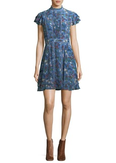 Alice + Olivia Marta High-Neck Floral-Printed Mini Dress