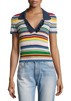 Alice + Olivia Martha Striped Ruffle-Trim Polo Shirt