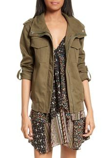 Alice + Olivia Marvis Embroidered Twill Utility Jacket