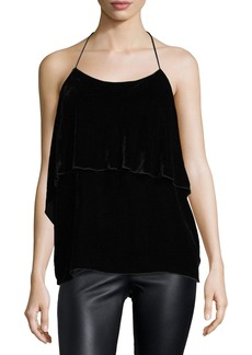 Alice + Olivia Marybeth Tie-Neck Layered Ruffle Top