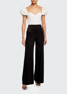 Alice + Olivia Mateo Puff-Sleeve Pleated Wide-Leg Jumpsuit