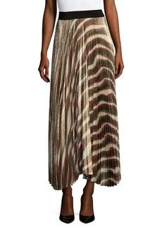 Alice + Olivia Maura Silk Pleated Maxi Skirt