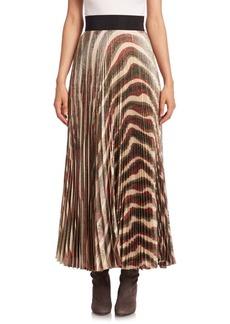 Alice + Olivia Maura Silk Pleated Maxi Skirt