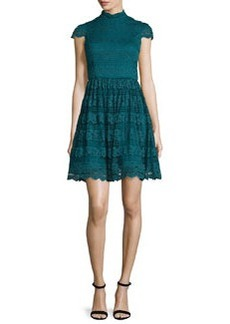 Alice + Olivia Maureen Lace Open-Back Party Dress