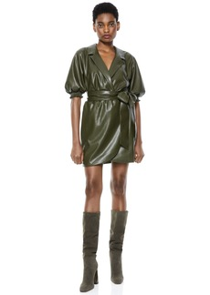 alice + olivia MAUREEN VEGAN LEATHER MINI DRESS