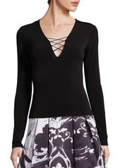 Alice + Olivia Maurice Lace-Up Top