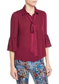 Alice + Olivia Maxima Ruffle-Sleeve Button-Front Silk Blouse