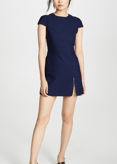 alice + olivia Maya Short Sleeve Asymmetrical Zip Mini Dress