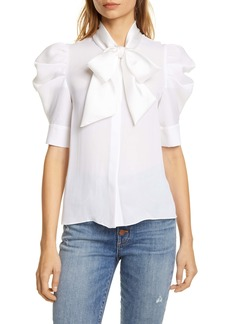 Alice + Olivia Maylee Tie Neck Blouse