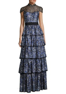 Alice + Olivia McKee Mock-Neck Tiered Printed Satin Maxi Dress w/ Lace