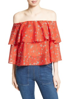 Alice + Olivia Meagan Double Layer Off the Shoulder Top