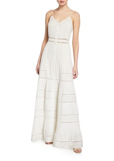 Alice + Olivia Meg Embroidered Pintuck Button-Down Maxi Dress