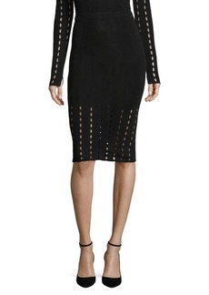 Alice + Olivia Melanie Pointelle Pencil Skirt