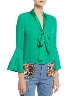 Alice + Olivia Meredith Tie-Neck Bell-Sleeve Button-Front Silk Blouse