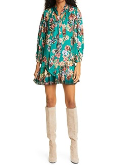 Alice + Olivia Merrilee Floral Long Sleeve Tie Neck Minidress