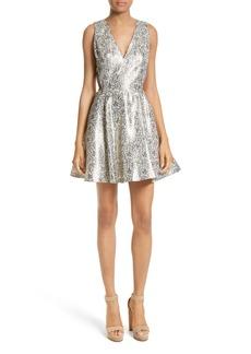 Alice + Olivia Metallic Jacquard Fit & Flare Dress