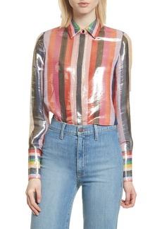 Alice + Olivia Metallic Stripe Shirt