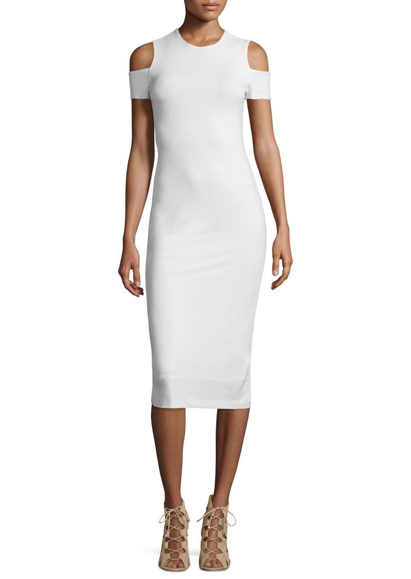 Alice + Olivia Meya Cold-Shoulder Stretch Midi Dress
