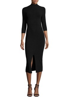 Alice + Olivia Meyer Mock-Neck 3/4-Sleeve Fitted Sweaterdress