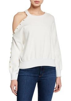 Alice + Olivia Michael Asymmetric Cold-Shoulder Stud Sweater