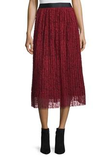 Alice + Olivia Mikaela Pleated Lace Midi Skirt