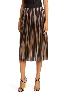 Alice + Olivia Mikaela Metallic Pleated Skirt