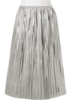 Mikaela plissé-lamé midi skirt