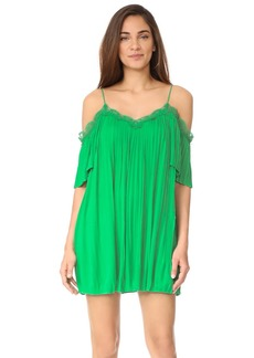 alice + olivia Mimi Cold Shoulder Pleated Dress