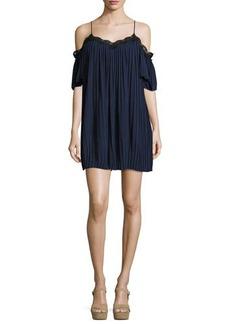 Alice + Olivia Mimi Cold-Shoulder Pleated Mini Dress