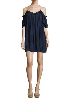Alice + Olivia Mimi Cold-Shoulder Pleated Mini Dress