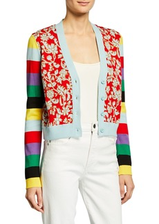 Alice + Olivia Minako Multipattern V-Neck Button-Front Cardigan