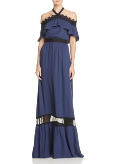 Alice + Olivia Mitsy Off-the-Shoulder Maxi Dress